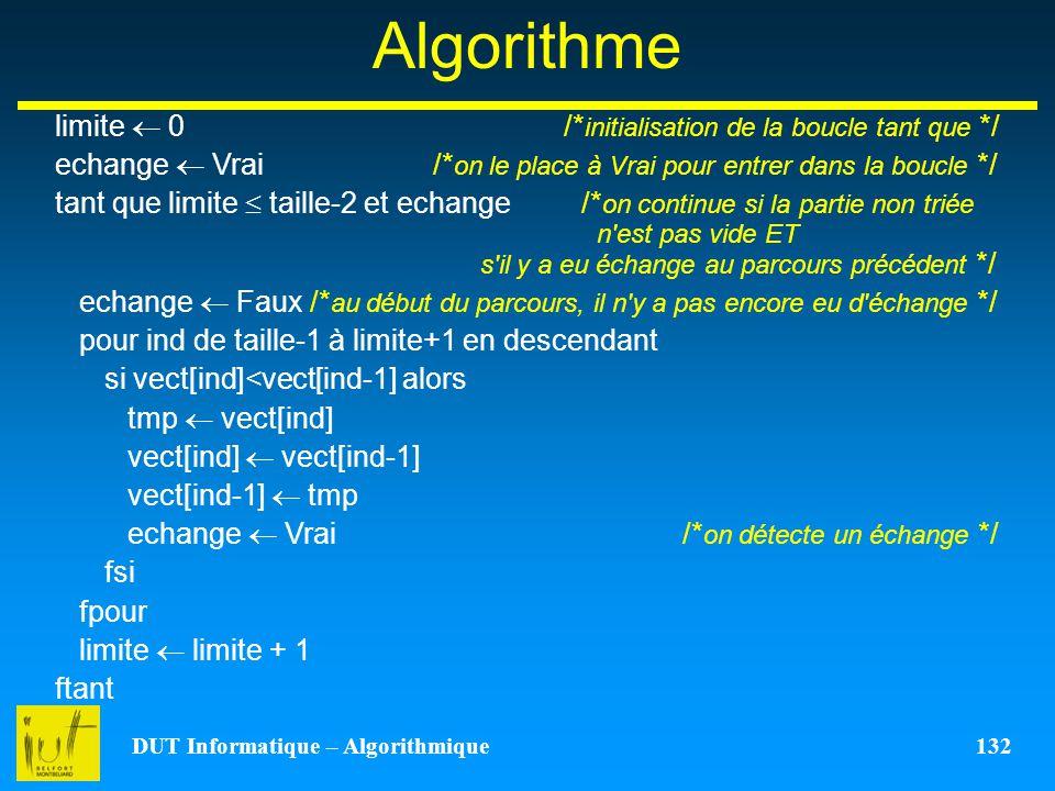 DUT Informatique – Algorithmique 132