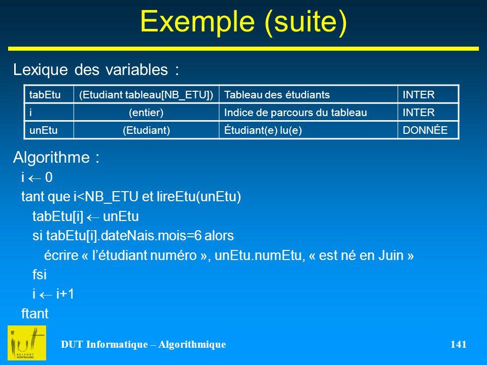 DUT Informatique – Algorithmique 141