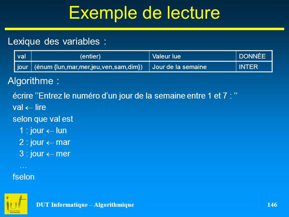 DUT Informatique – Algorithmique 146