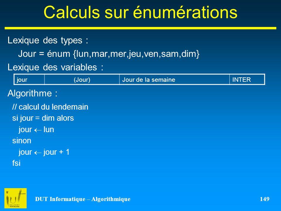 Calculs sur énumérations