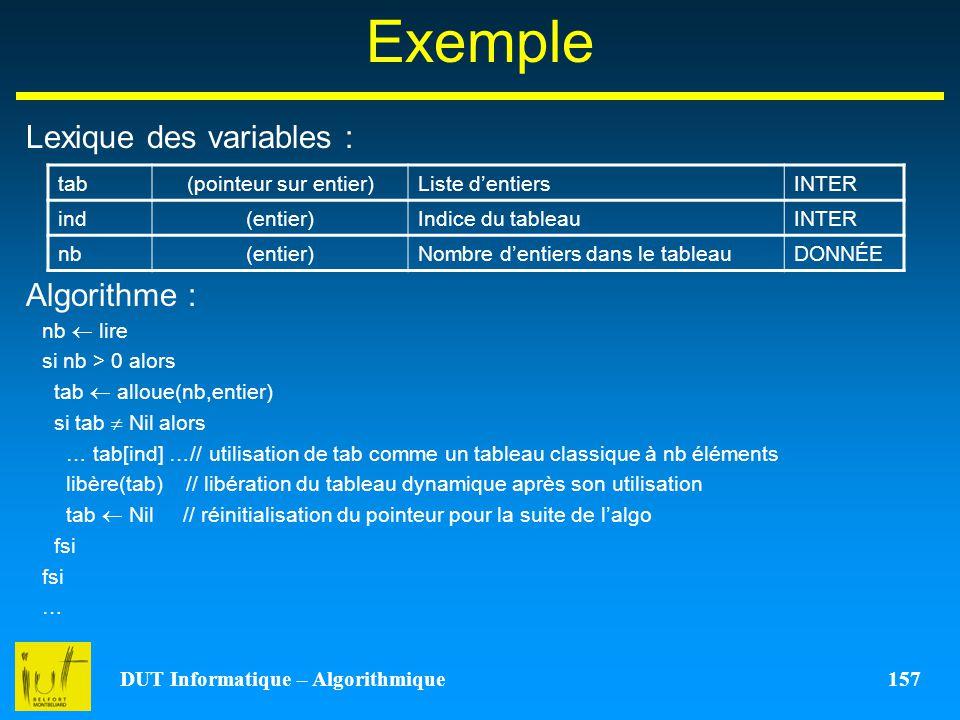 DUT Informatique – Algorithmique 157