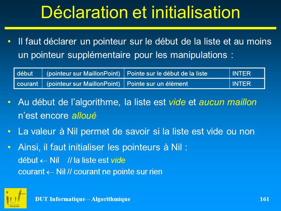 Déclaration et initialisation