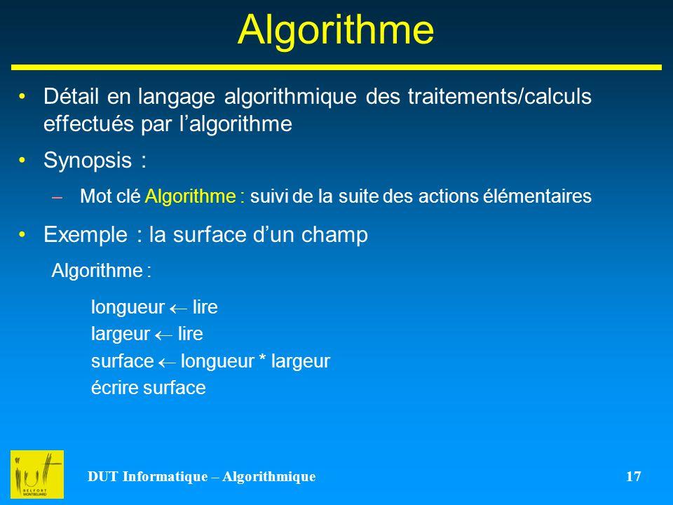 DUT Informatique – Algorithmique 17