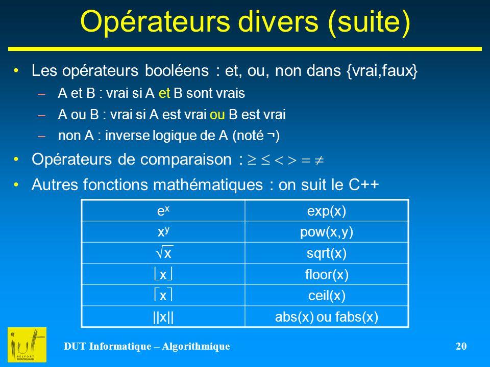 Opérateurs divers (suite)
