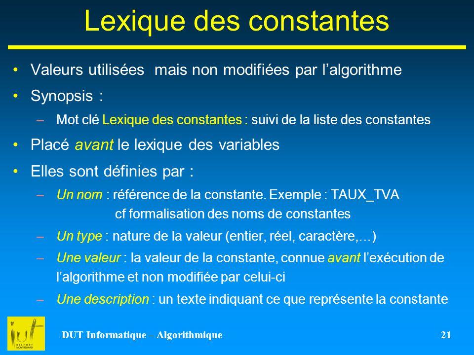 Lexique des constantes