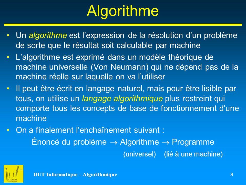 DUT Informatique – Algorithmique 3