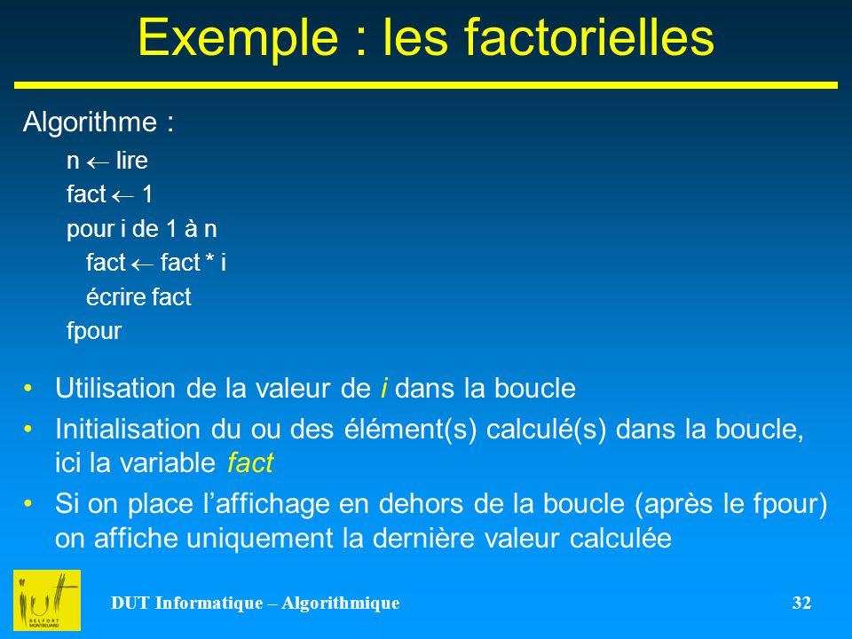 Exemple : les factorielles