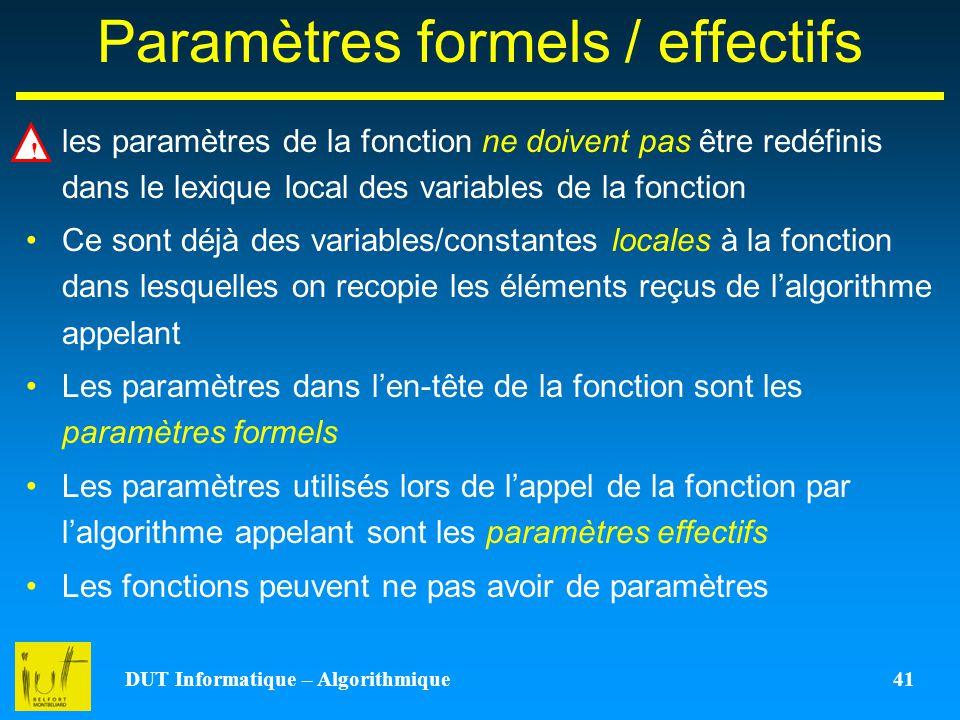 Paramètres formels / effectifs