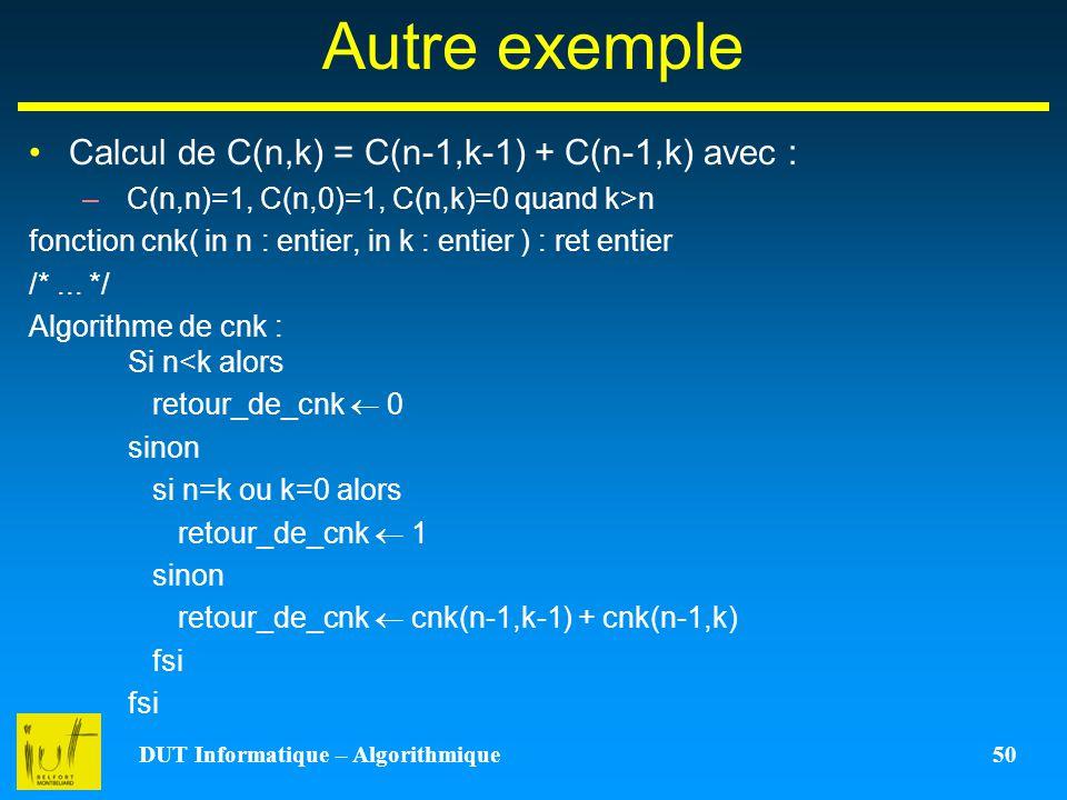 DUT Informatique – Algorithmique 50