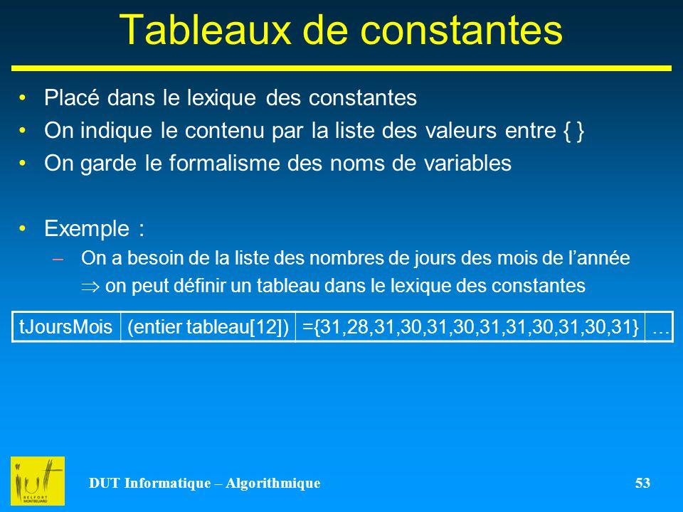 Tableaux de constantes