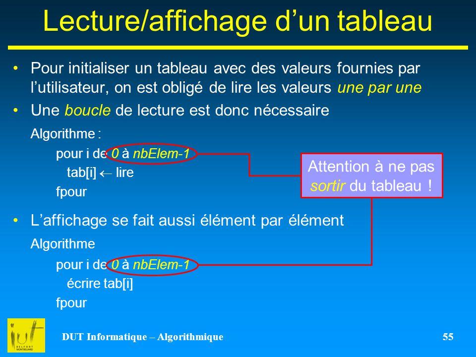 Lecture/affichage d'un tableau