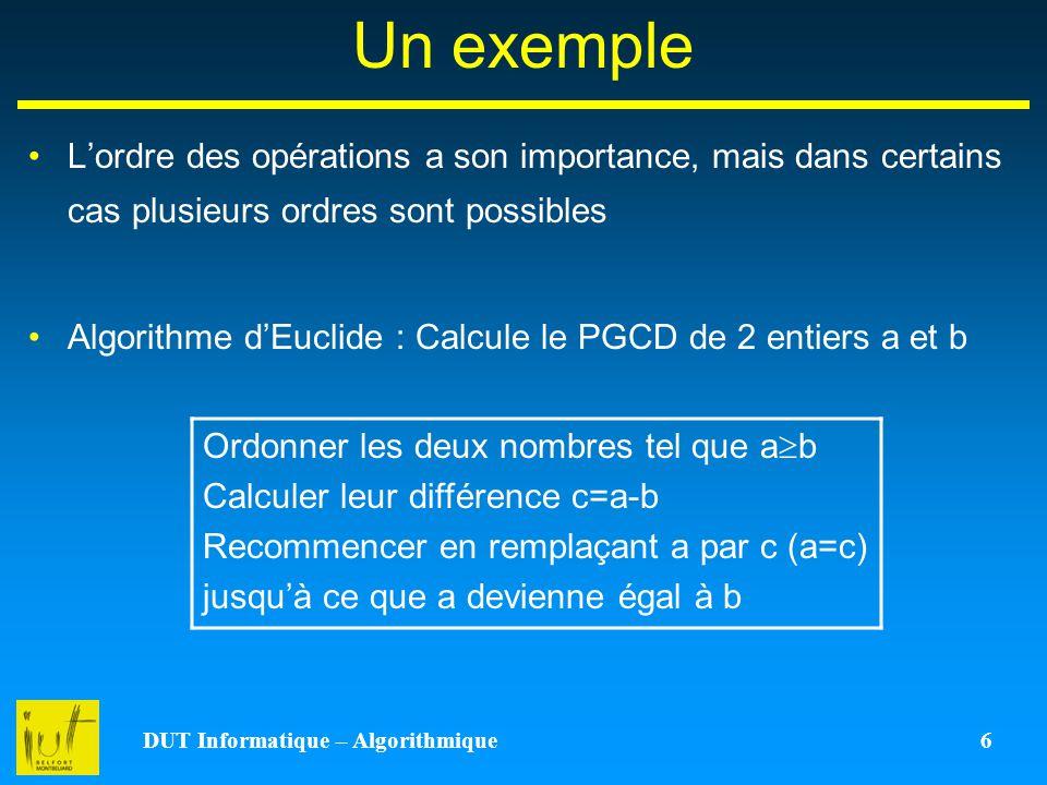 DUT Informatique – Algorithmique 6