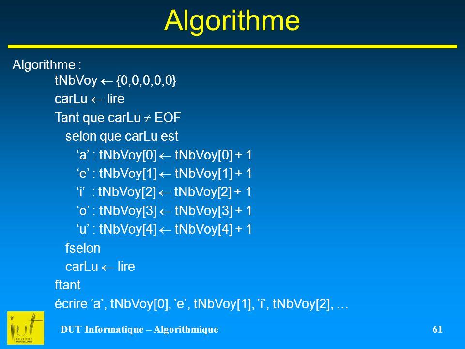 DUT Informatique – Algorithmique 61