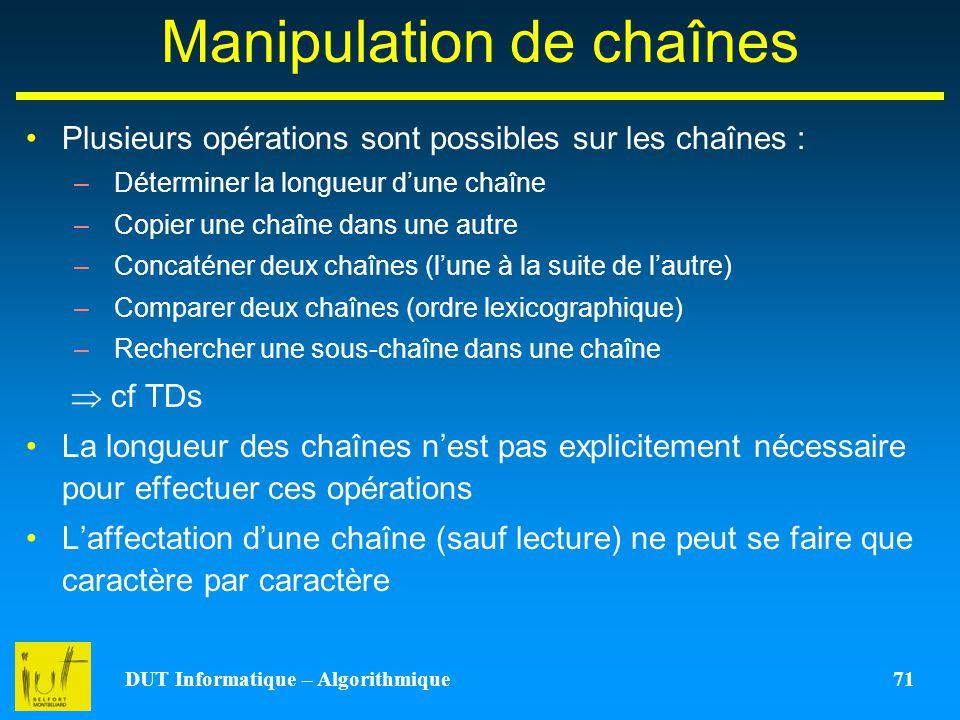 Manipulation de chaînes