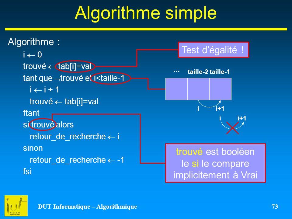 DUT Informatique – Algorithmique 73
