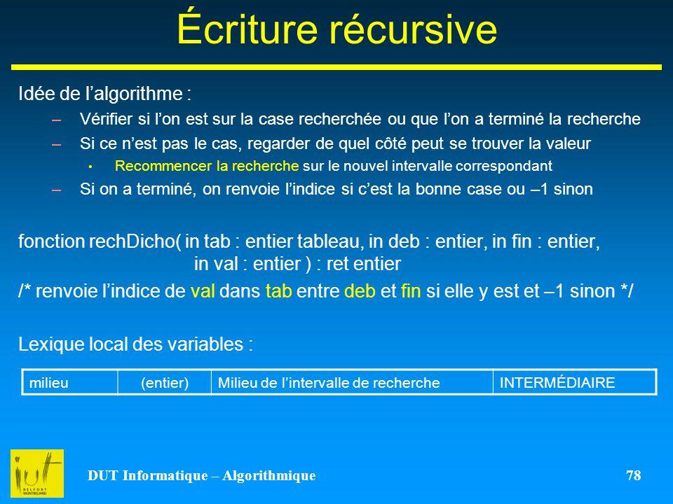 DUT Informatique – Algorithmique 78