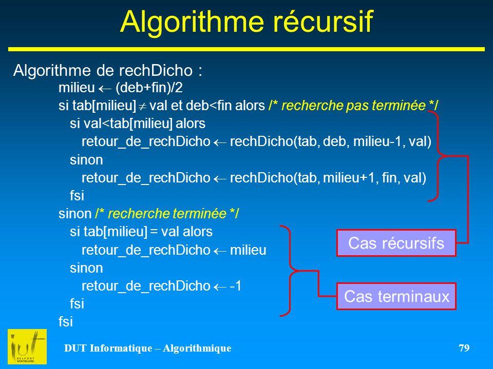 DUT Informatique – Algorithmique 79