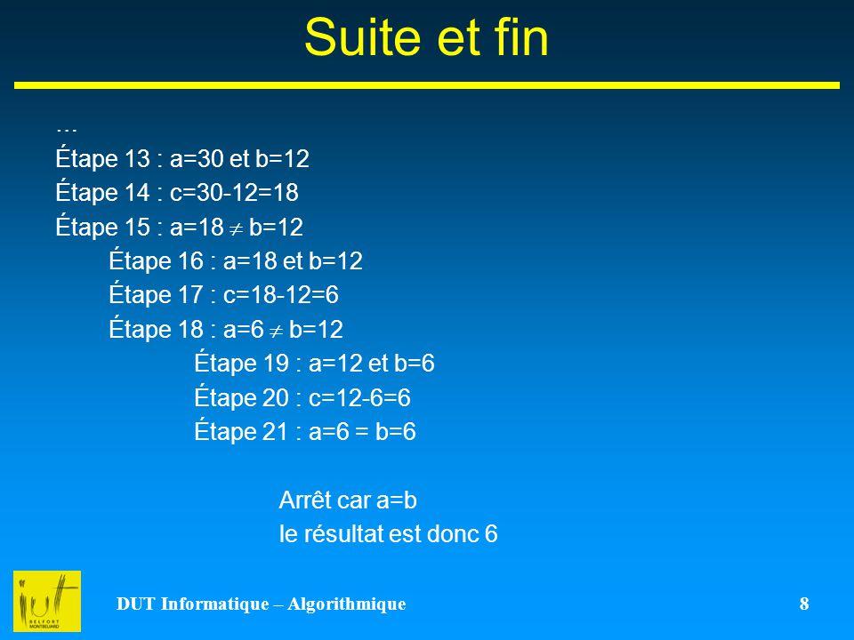 DUT Informatique – Algorithmique 8