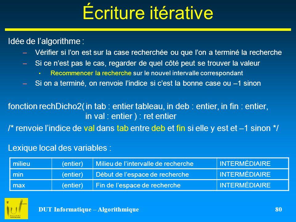 DUT Informatique – Algorithmique 80