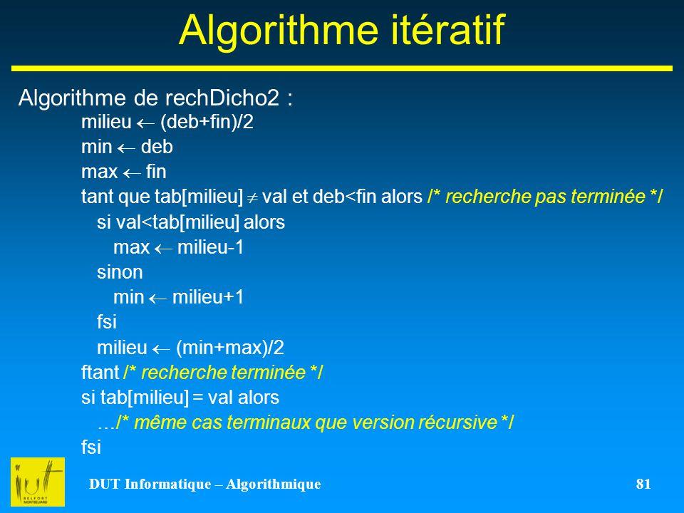 DUT Informatique – Algorithmique 81