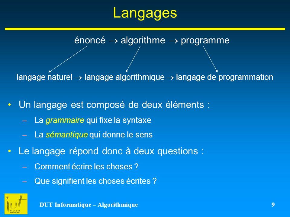 DUT Informatique – Algorithmique 9