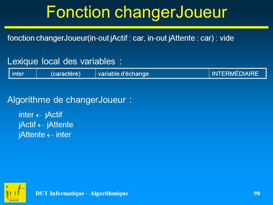 Fonction changerJoueur