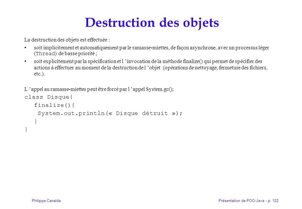 Destruction des objets