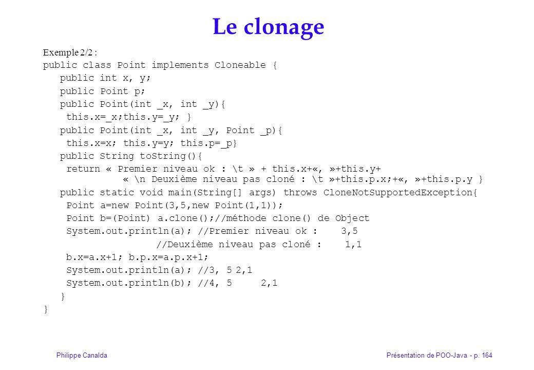 Le clonage Exemple 2/2 : public class Point implements Cloneable {