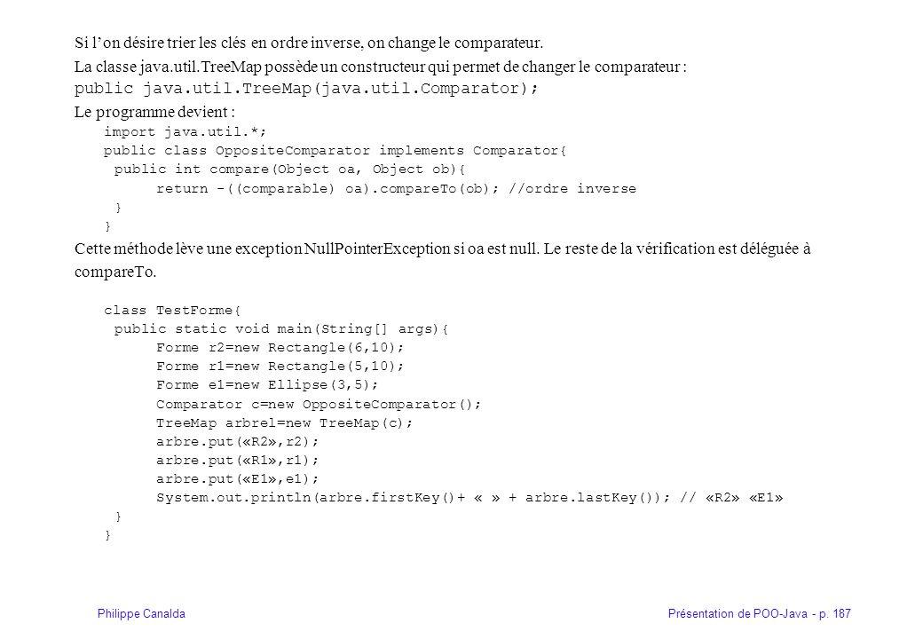 public java.util.TreeMap(java.util.Comparator); Le programme devient :