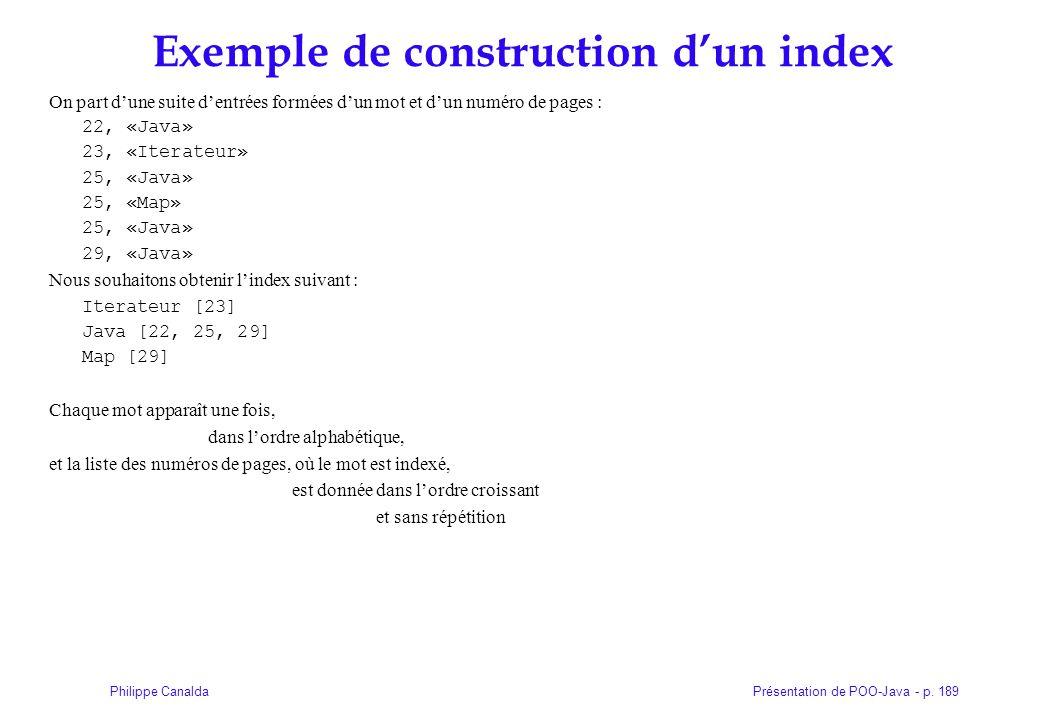 Exemple de construction d'un index
