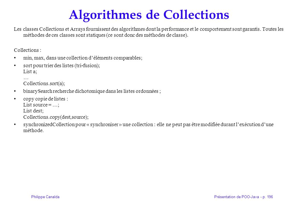 Algorithmes de Collections