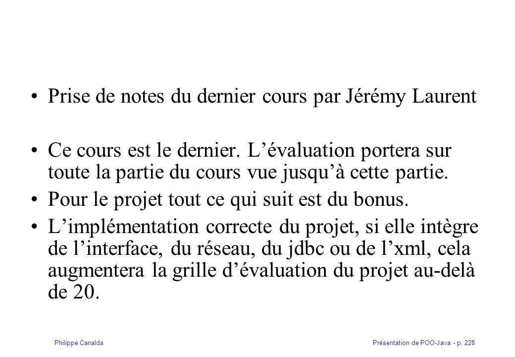 Prise de notes du dernier cours par Jérémy Laurent