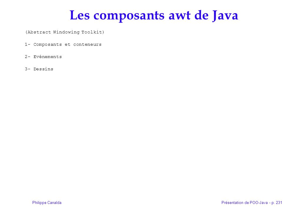 Les composants awt de Java