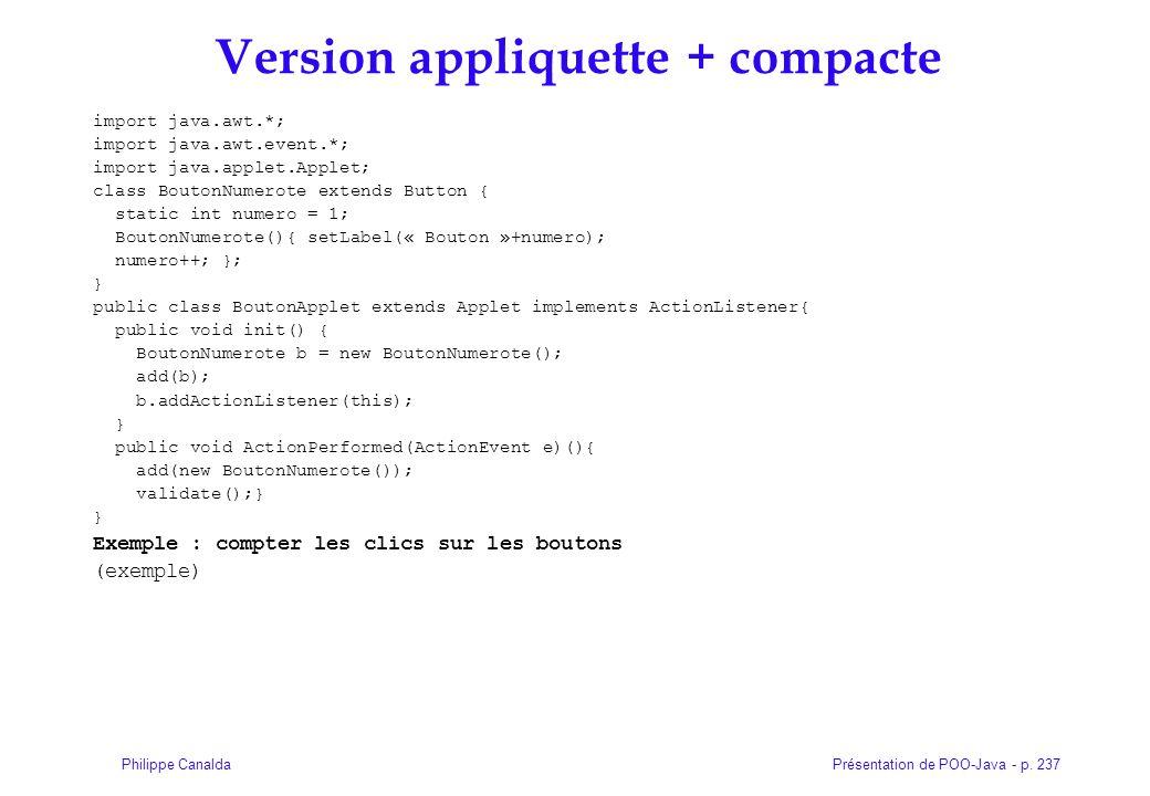 Version appliquette + compacte