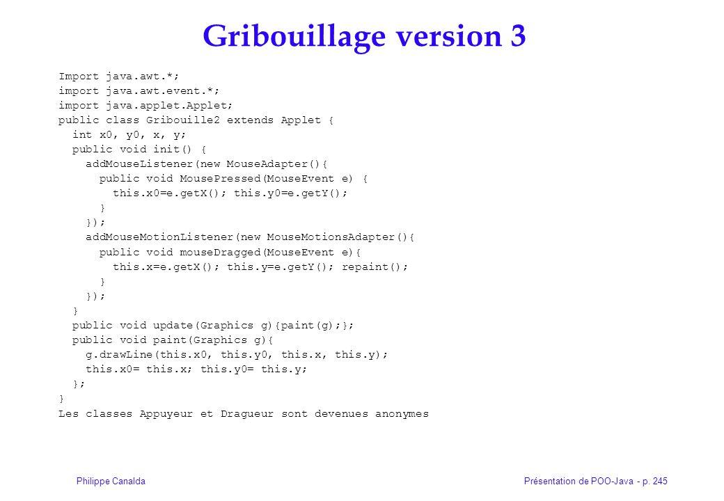 Gribouillage version 3 Import java.awt.*; import java.awt.event.*;