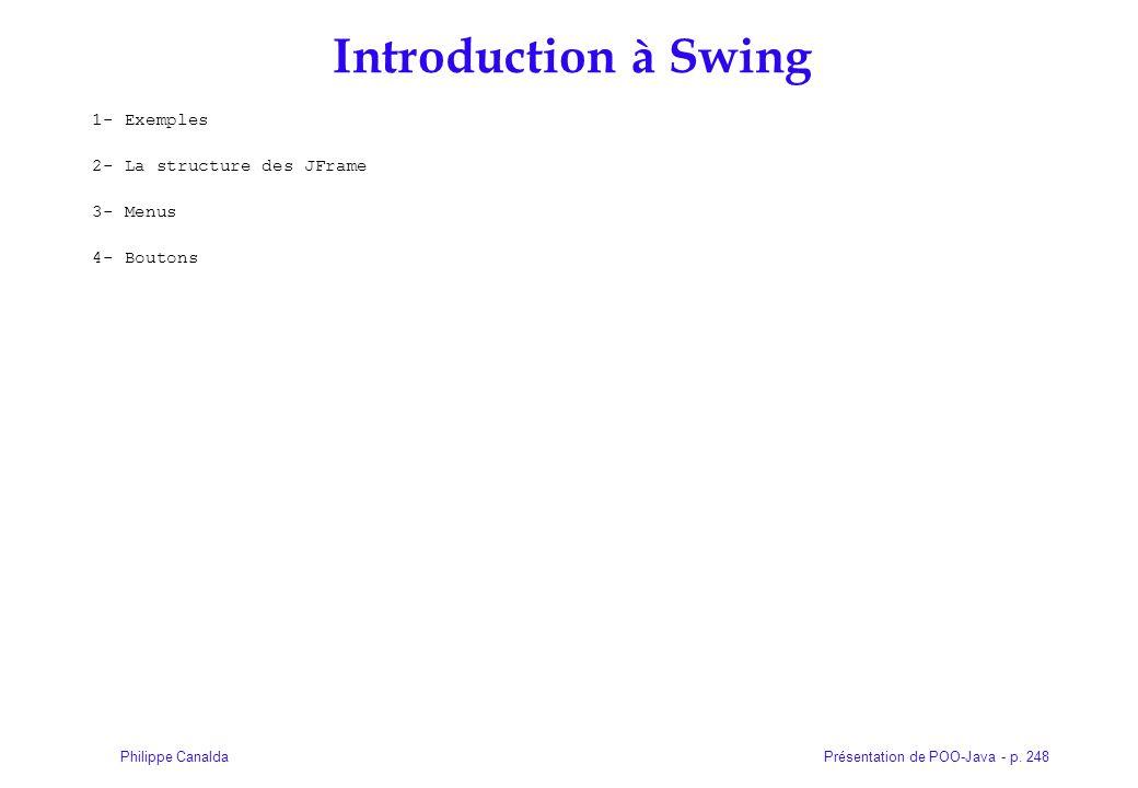 Introduction à Swing 1- Exemples 2- La structure des JFrame 3- Menus