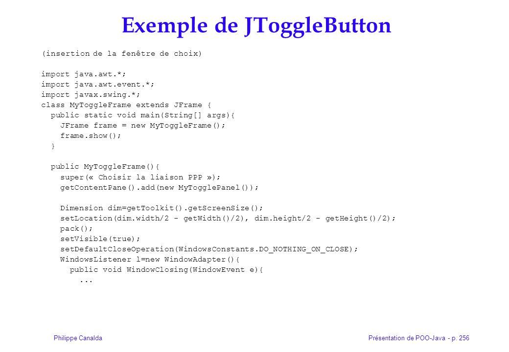 Exemple de JToggleButton