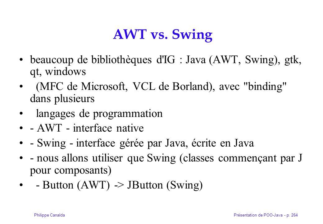 AWT vs. Swing beaucoup de bibliothèques d IG : Java (AWT, Swing), gtk, qt, windows.