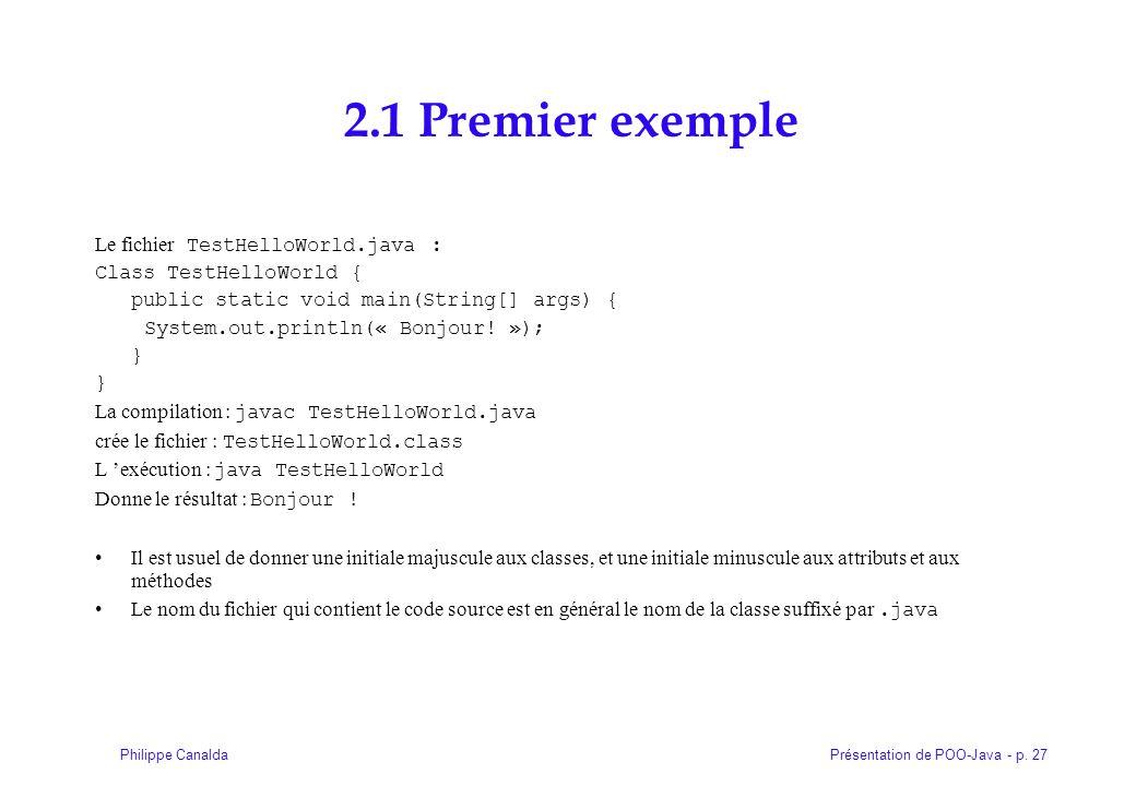 2.1 Premier exemple Le fichier TestHelloWorld.java :