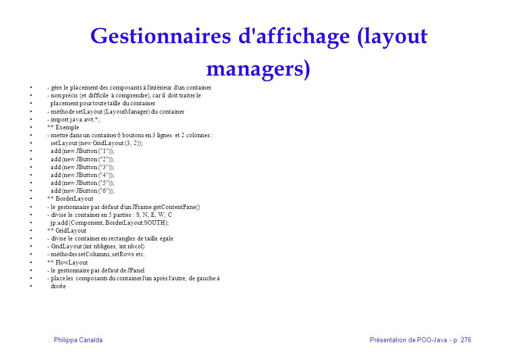 Gestionnaires d affichage (layout managers)‏