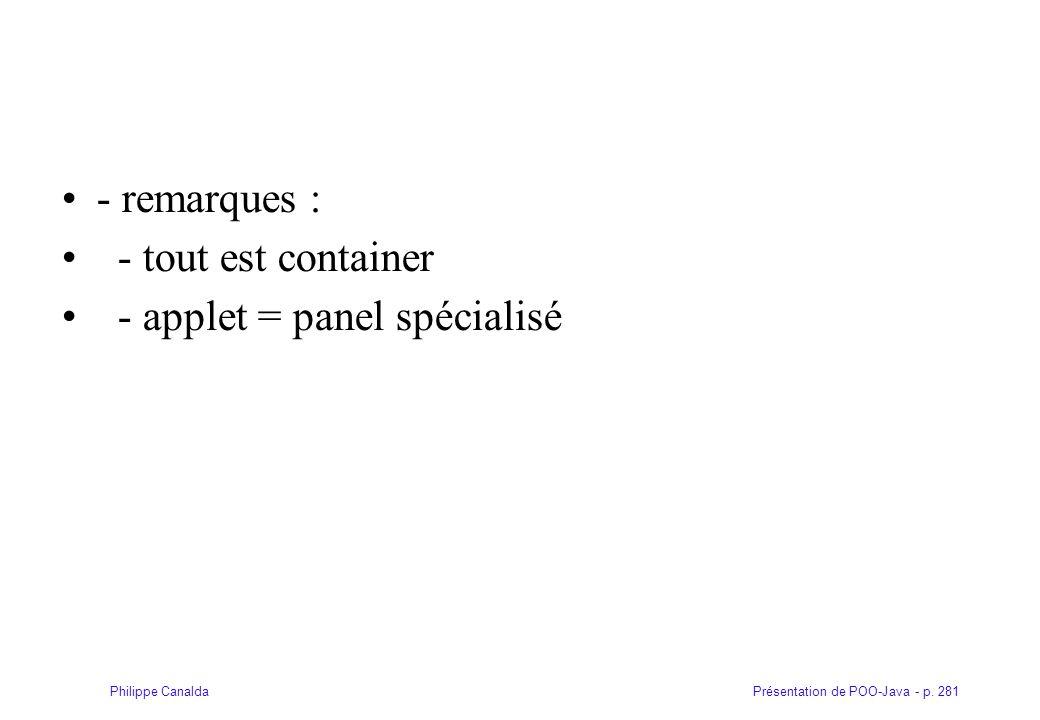 - remarques : - tout est container - applet = panel spécialisé