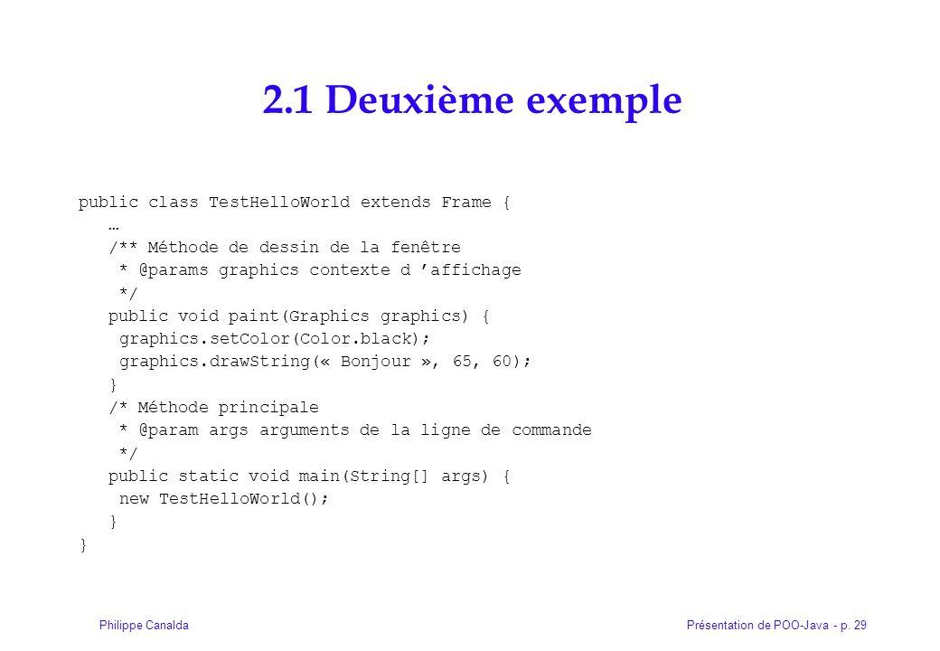 2.1 Deuxième exemple public class TestHelloWorld extends Frame { …