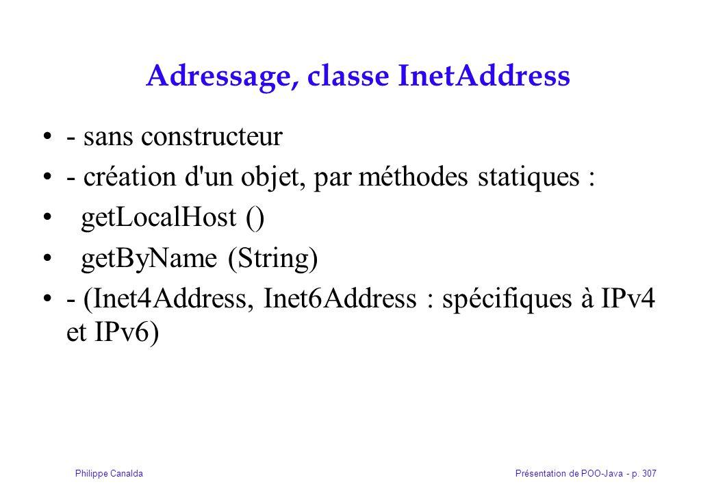 Adressage, classe InetAddress