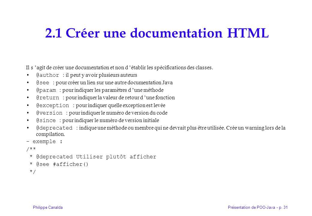 2.1 Créer une documentation HTML