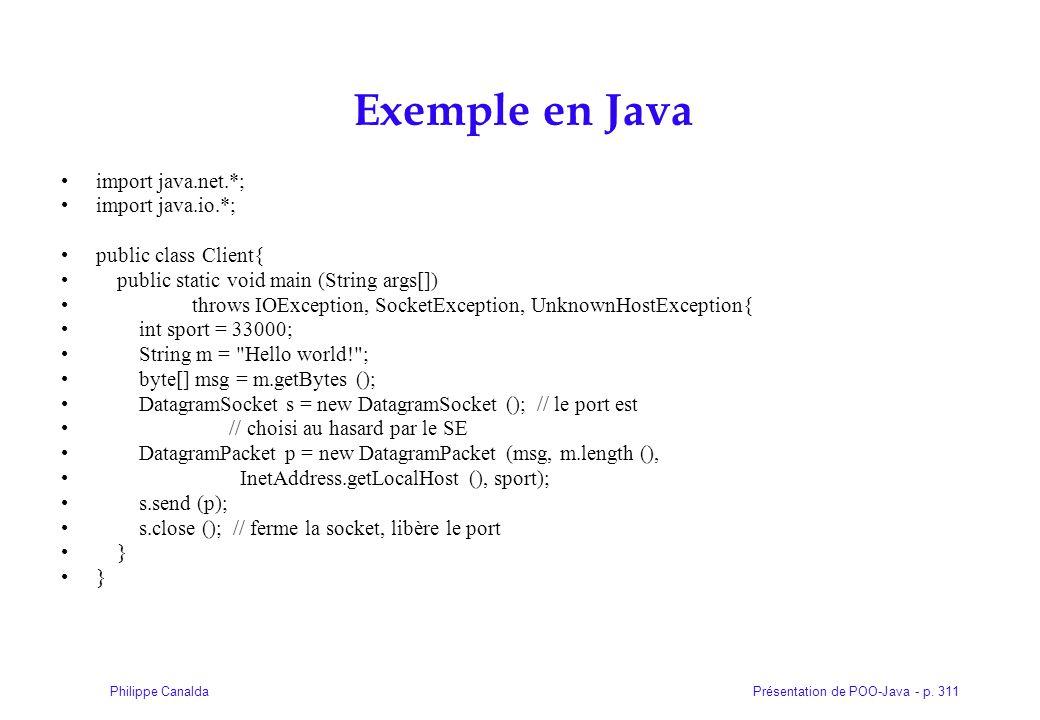 Exemple en Java import java.net.*; import java.io.*;