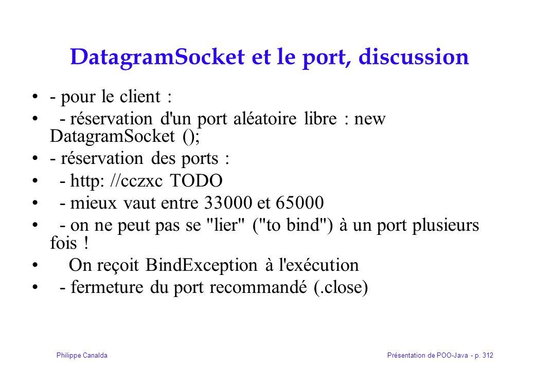 DatagramSocket et le port, discussion