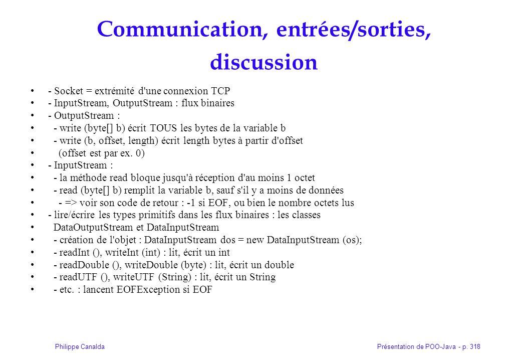 Communication, entrées/sorties, discussion