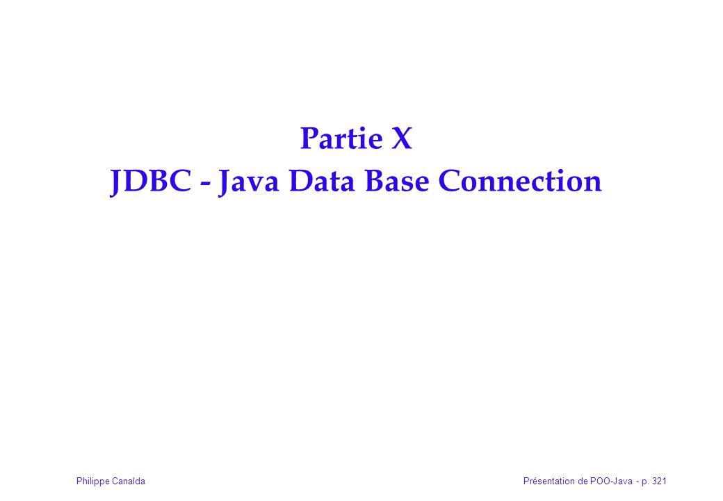 Partie X JDBC - Java Data Base Connection