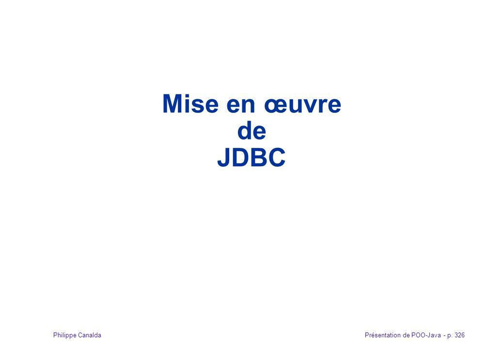 Mise en œuvre de JDBC 326