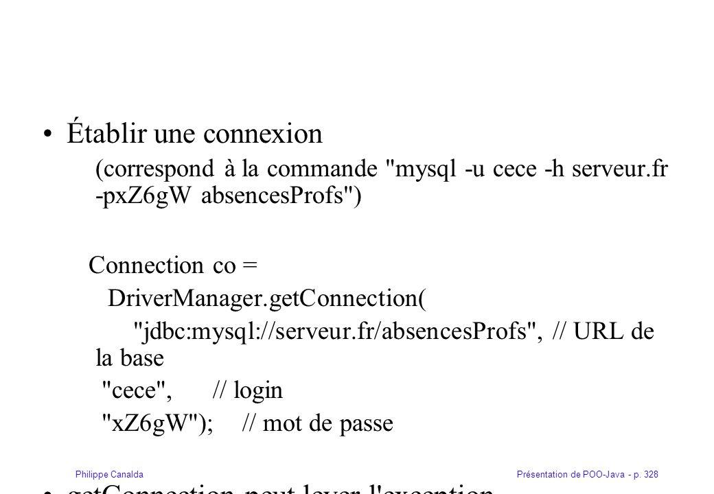Établir une connexion (correspond à la commande mysql -u cece -h serveur.fr -pxZ6gW absencesProfs )